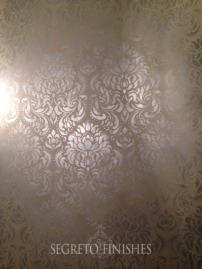Segreto Secrets - I Love That Sample, Where Can It Go In My House - Metallic Stencil Over Plaster