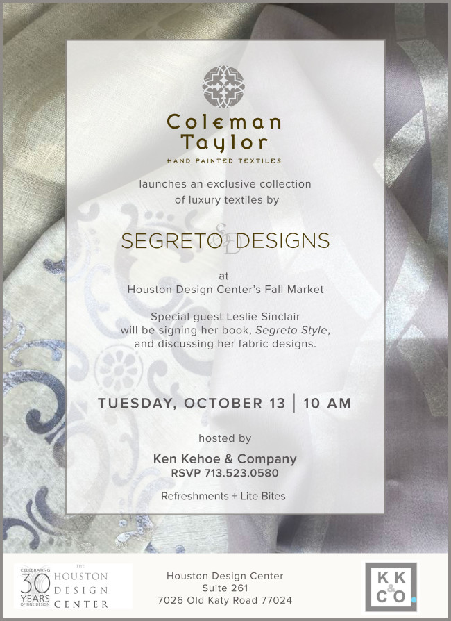 SD-HoustonLaunch,Segreto Secrets Blog-Segreto Designs for Coleman Taylor Textiles