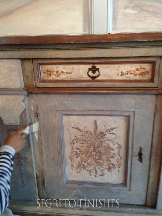 dry brush to soften furniture finish