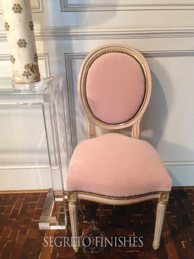 refurbished chair in pink mohair