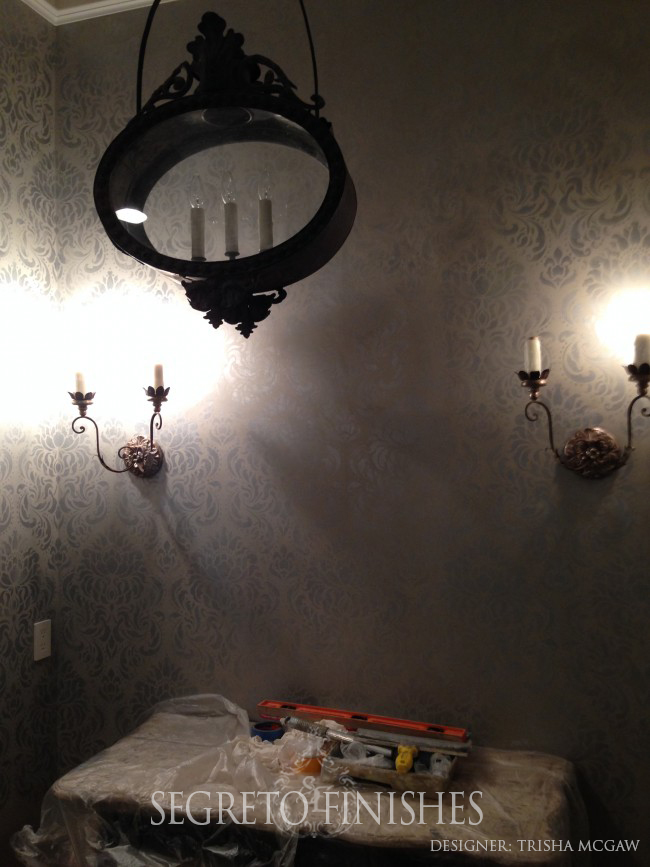 Dramatic Powder Room with Walls by Segreto for Trisha McGaw