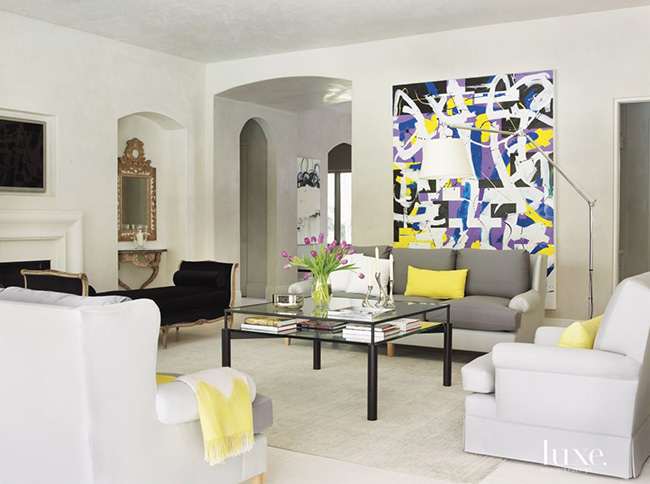 Segreto Secrets - Modern Meets French Country - Living Room with Yellow Accents