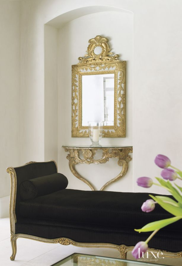 Segreto Secrets - Modern Meets French Country - Black Settee with Antique Gold Mirror