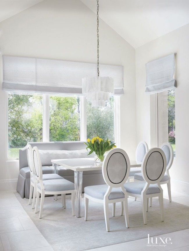 Segreto Secrets - Modern Meets French Country - Gray Dining Room with Square Table and Banquette
