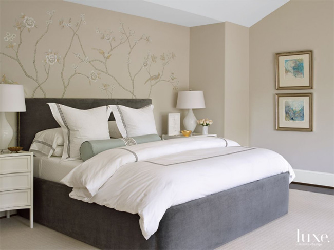 A Transitional Home - Bedroom with Segreto Accent Wall Mural