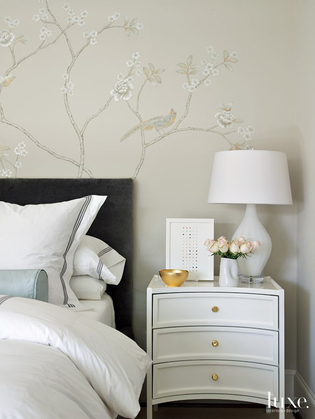 A Transitional Home - Bedroom Vignette with Segreto Mural