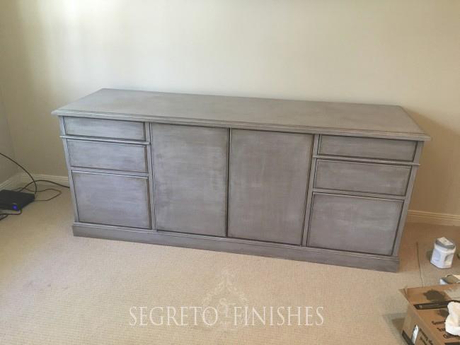 Segreto Secrets - Father's Day Office Makeover - Gray Finish on Old Credenza