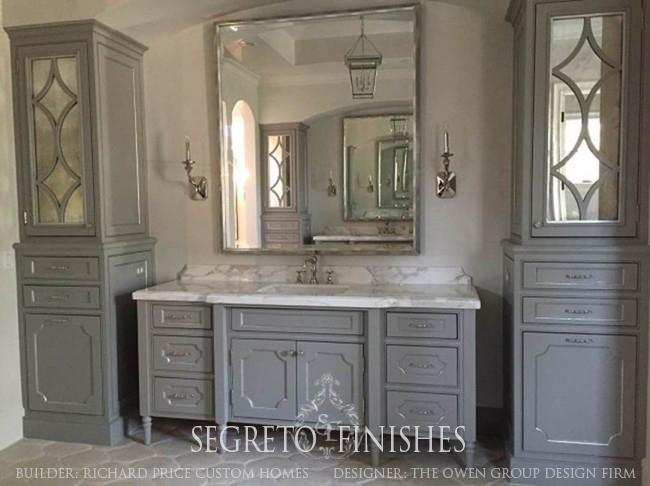 What Segreto Did Last Week! Segreto Secrets Blog! Silver Leafing on Bathroom Cabinet Bead Detail