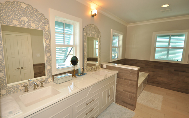 Segreto Secrets - Galveston Beach House - Bathroom with Mother of Pearl Mirrors