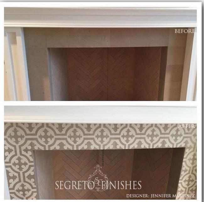What Segreto Did Last Week! Segreto Secrets Blog! Painted Tile Design on Fireplace