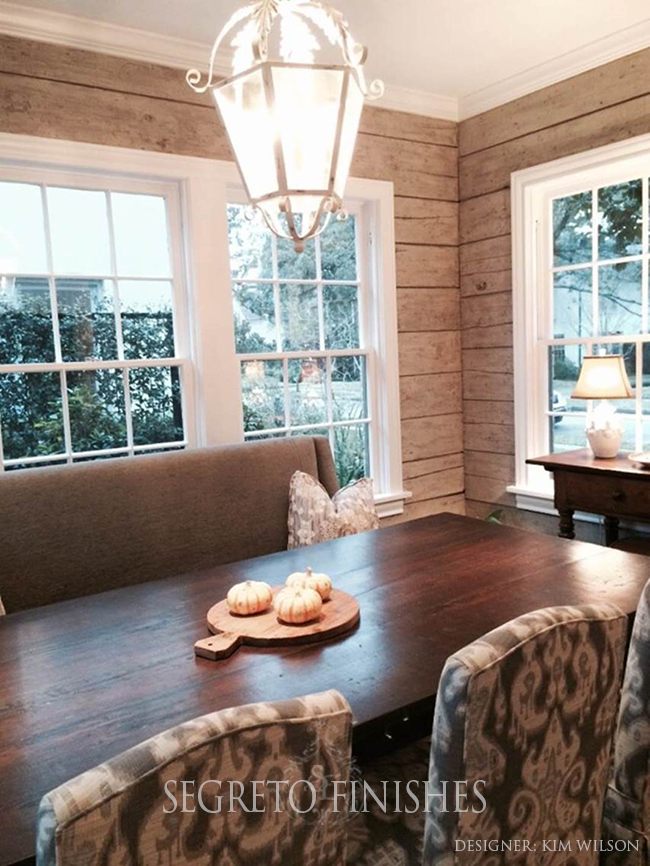 What Segreto Did Last Week! Segreto Secrets Blog! Breakfast Room with Planked Wood Finished to Look Reclaimed