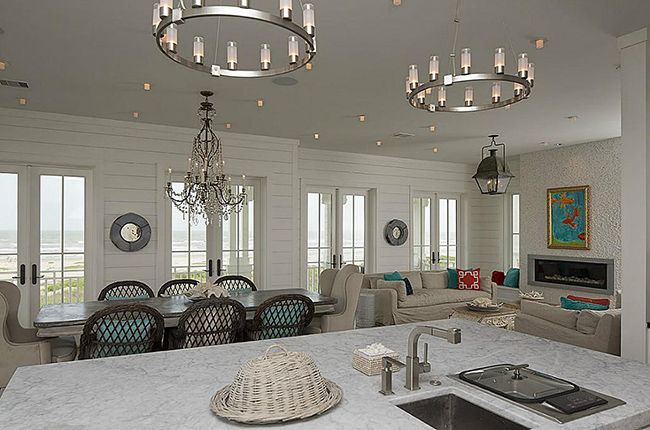 Segreto Secrets - Galveston Beach House - Open Concept Kitchen Den Dining Room