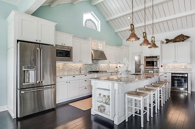 Segreto Secrets - Galveston Beach House - Pale Aqua Kitchen with Copper Lighting