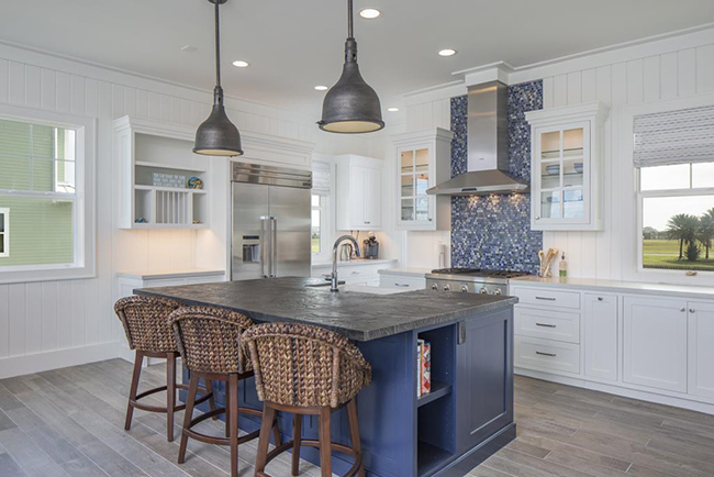 Segreto Secrets - Galveston Beach House - Beach Kitchen White with Blue Accents