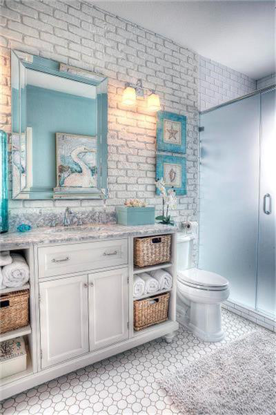 Segreto Secrets - Galveston Beach House - Beachy Bathroom with Pelicans and Starfish