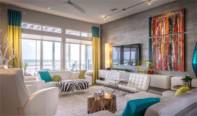 Segreto Secrets - Galveston Beach House - Sleek Modern Bright Living Room