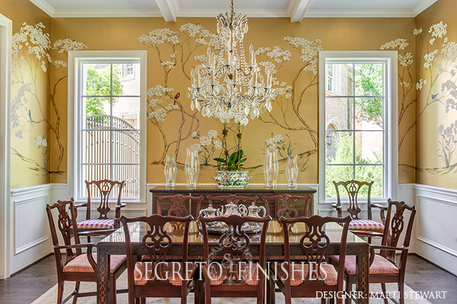 Segreto Secrets - Marti Stewart Dining Room inspired by Ima Hogg with Mural by Segreto