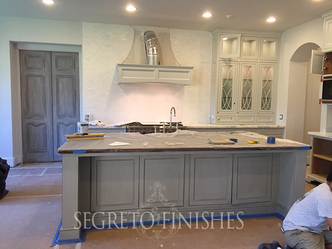 Painted doors and glazed cabinetry by Segreto finishes, designed by Trisha McGaw.