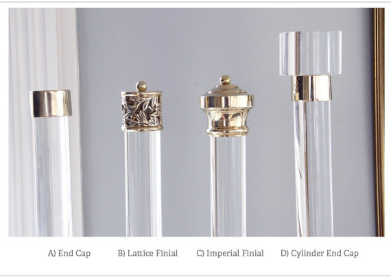 LuxHoldUps Finial For Lucite Drapery Rod (Polished or Brushed Brass) - Segreto Secrets