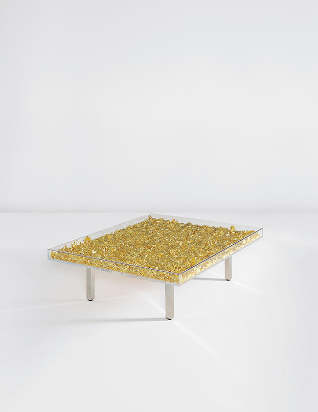 Yves Klein gold table in Segreto Secrets book