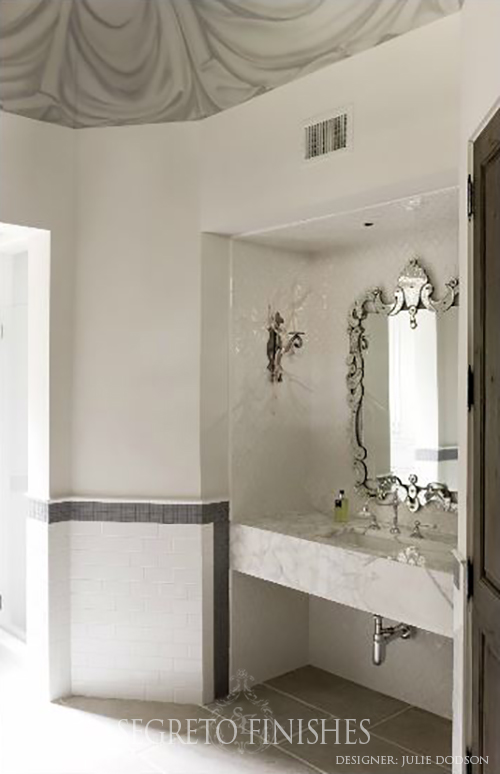 Beautiful Bathroom with Draped Fabric Painted Ceiling by Segreto