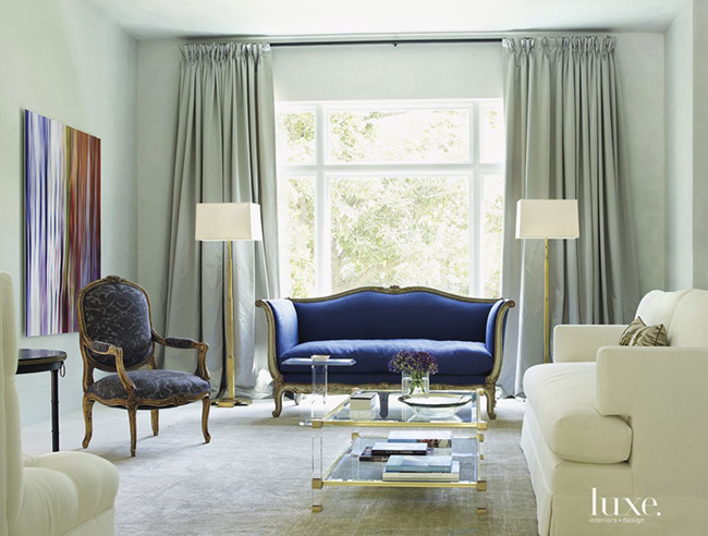 Segreto Secrets - Modern Meets French Country - Sitting Area with Blue Couch