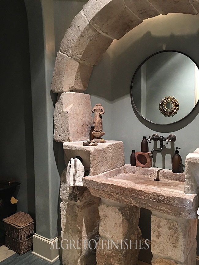 What's Segreto's Been Up To - Green Blue Plastered Powder Room with Tuscan Style