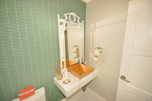 Segreto Secrets - Galveston Beach House - Powder Room with Aqua Tile Backsplash