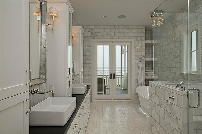 Segreto Secrets - Galveston Beach House - Marble Bathroom with Beach View