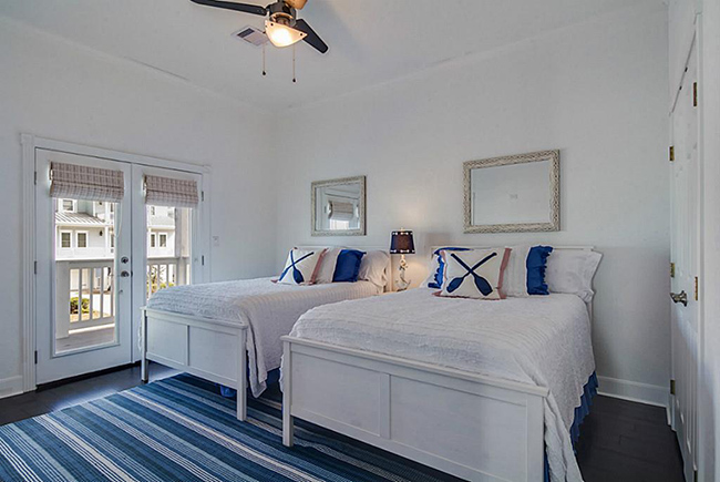 Segreto Secrets - Galveston Beach House - Nautical Blue Bedroom