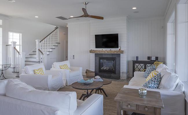 Segreto Secrets - Galveston Beach House - Living Room White Slipcovers with White Wood Walls