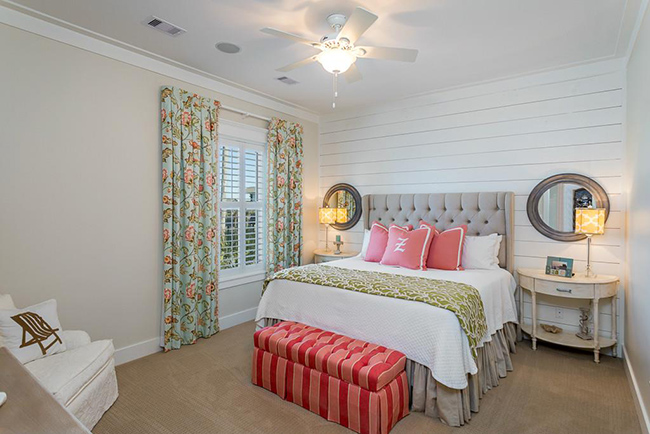 Segreto Secrets - Galveston Beach House - Bedroom with Pop Colors and White Wood Accent Wall