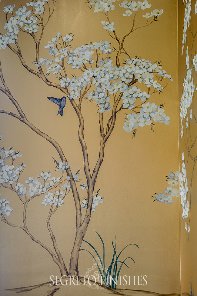 Segreto Secrets - Bayou Bend Inspired Final Look - Metallic Gold Walls with White Flower Mural