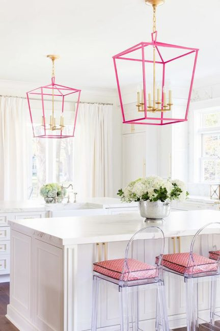 white-kitchen-pink-accents-kartell-one-more-counter-stools