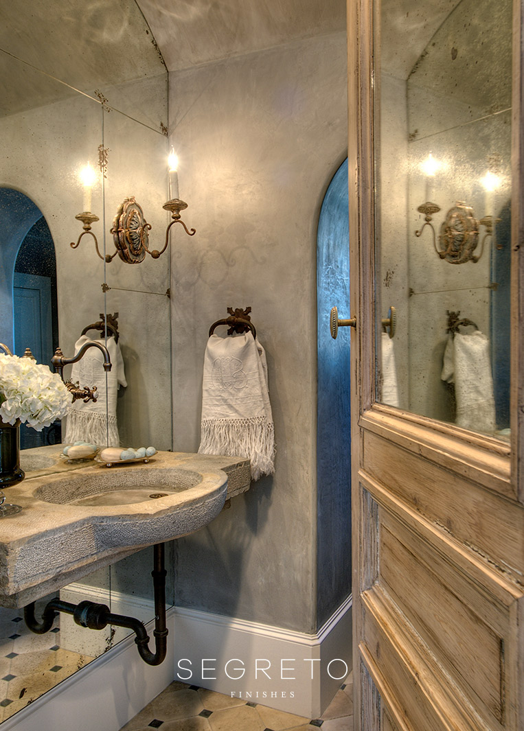 Old World style bathroom with plaster walls. Segreto Finishes. Come see more interior design inspiration with Exquisite Plaster Walls, Finishes and Segreto Stone.#plaster #walls #finishes #segreto #interiordesigninspiration