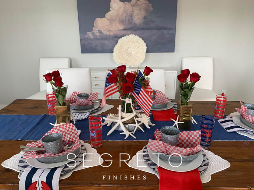 4th of July Galveston themed tablescape zoomed out