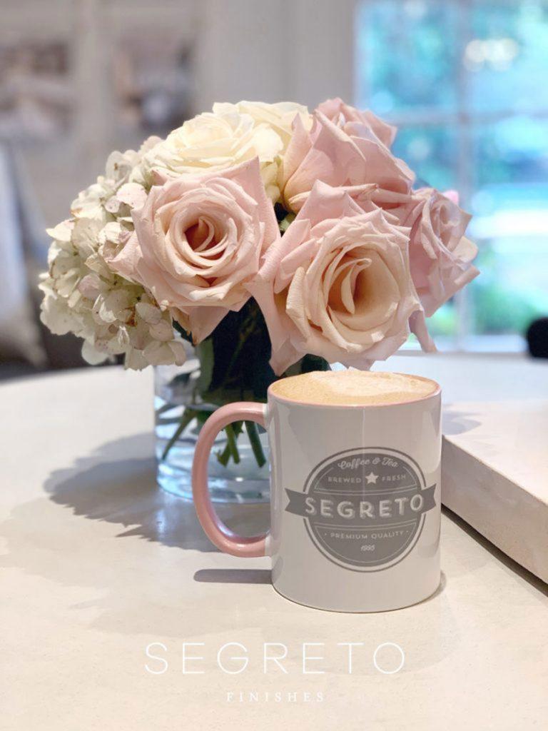 flowers and coffee mug