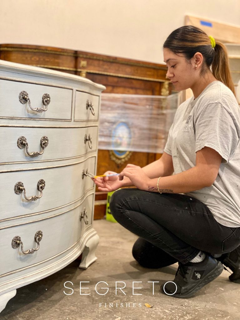 adding gold & silver leafing to chest of drawers