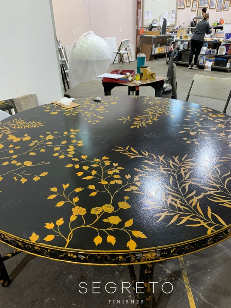custom painted black table with gold leaves