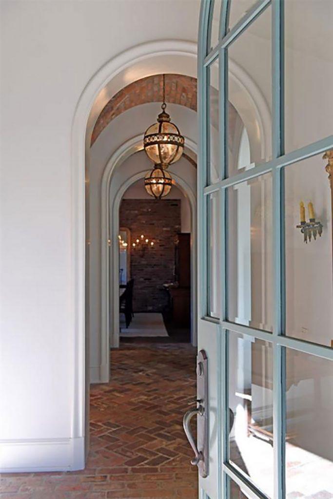 beveled glass doors into foyer