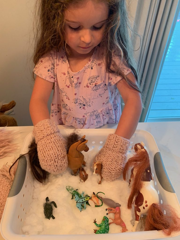 girl playing with toy horses