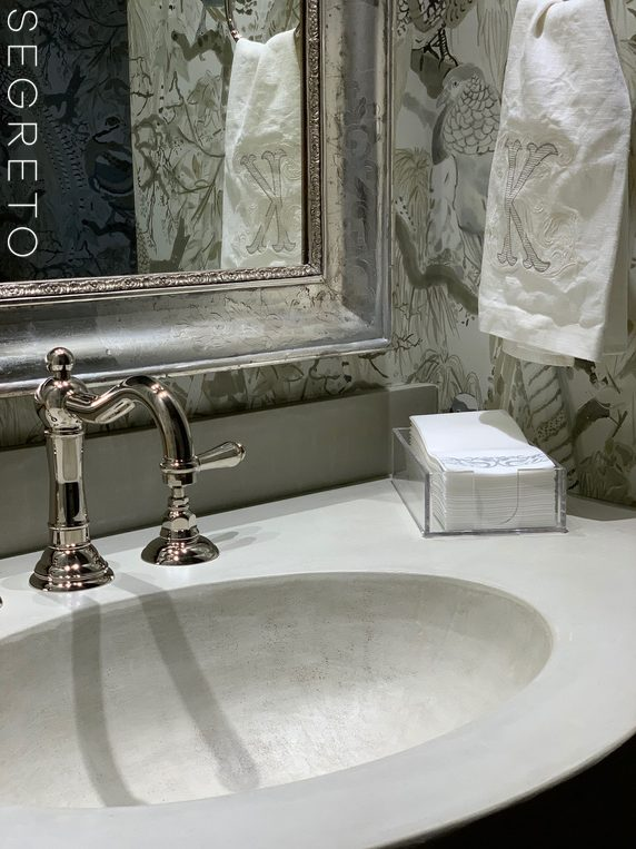 bathroom sink with countertop made of SegretoStone
