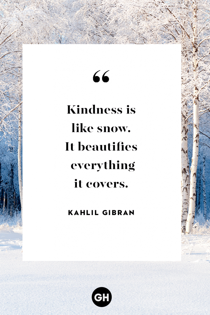 """Kindness is like snow. It beautifies everything it covers."""