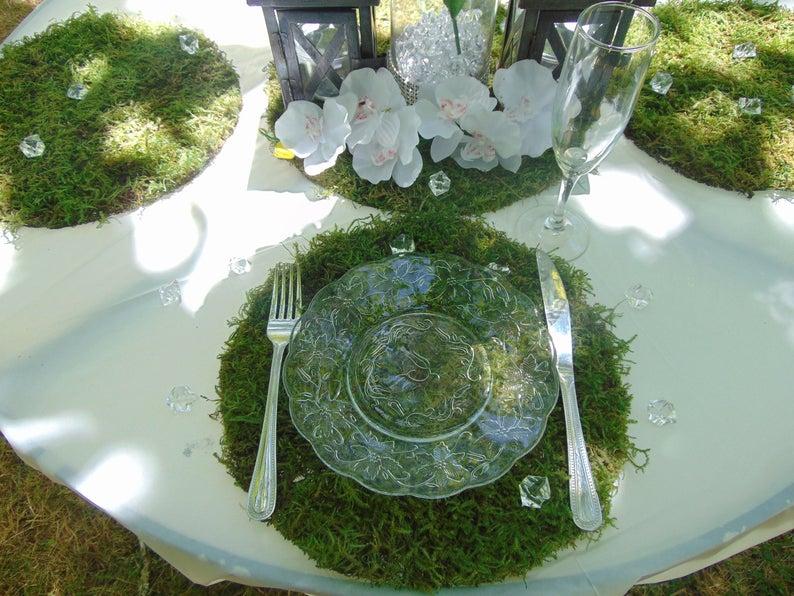 Green Moss Placemats for Garden Feel