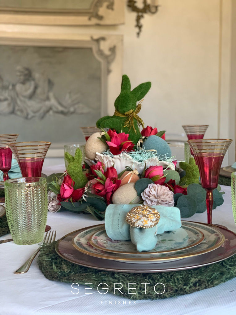Easter Table Setting with pink florals