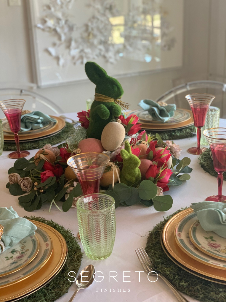 Easter Table Setting with gold chargers