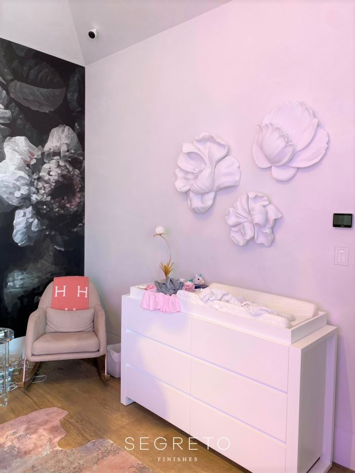 Large Scale Plaster Flowers Installed in a baby girl's nursery