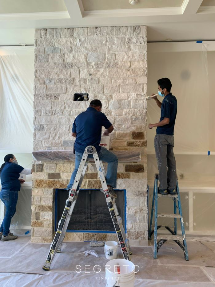 Stone Fireplace Transformation