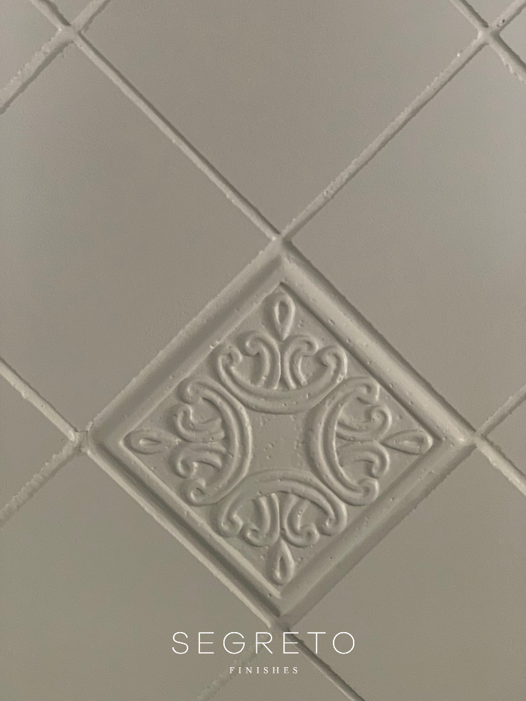 painted tile in kitchen
